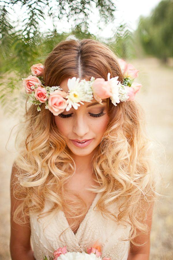 Coroa floral para penteados de dama de honra