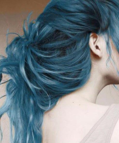 cor de cabelo azul aquarela teal