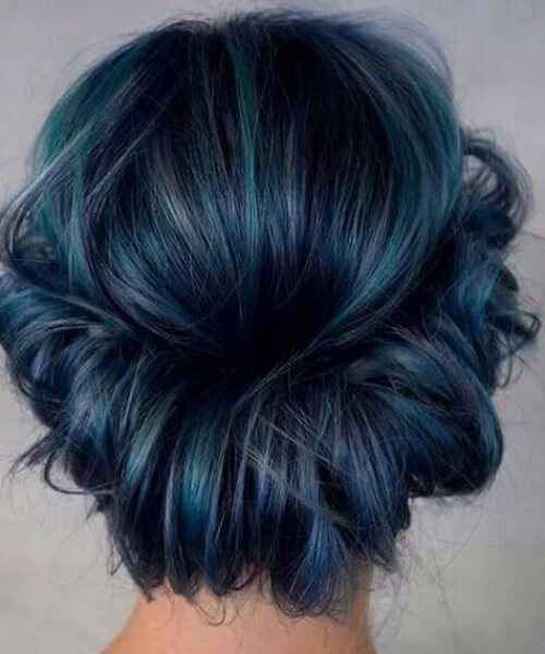 desarrumado coroa meia-noite teal cabelo cor