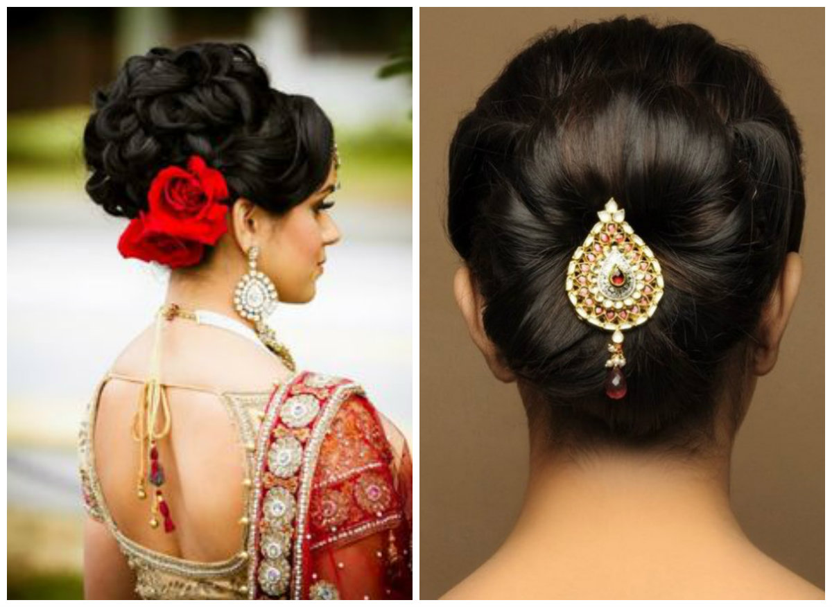 Vários penteado indiano de comprimento médio para casamentos