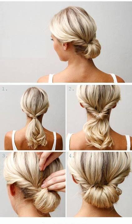 Side & Back Chignon Idéias de estilo de cabelo com fotos passo a passo