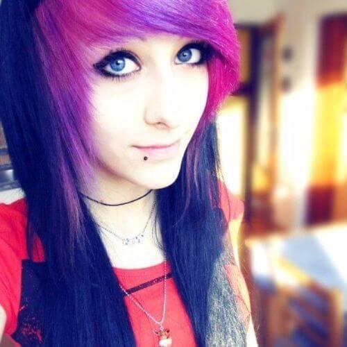 30 impressionantes longos penteados emo para meninas