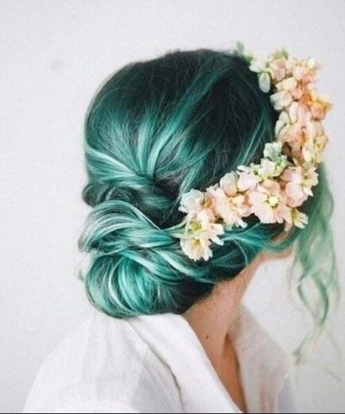 cabelo de sereia de coroa de flor natural