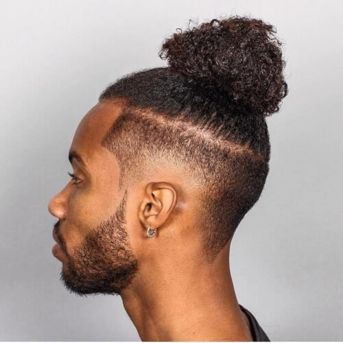 Penteados Moicano Natural Top Knot para Homens