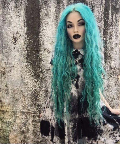 goth doll teal cabelo cor