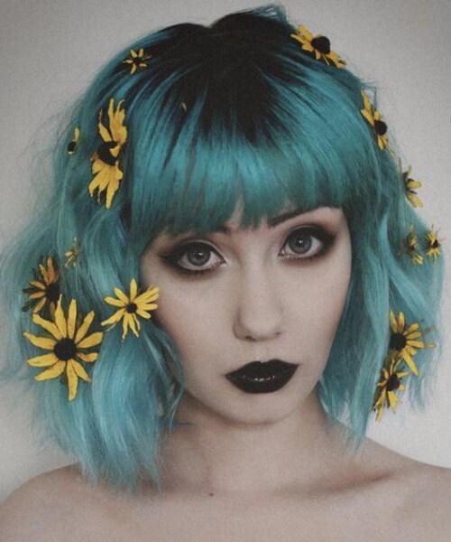 flores silvestres teal cabelo cor