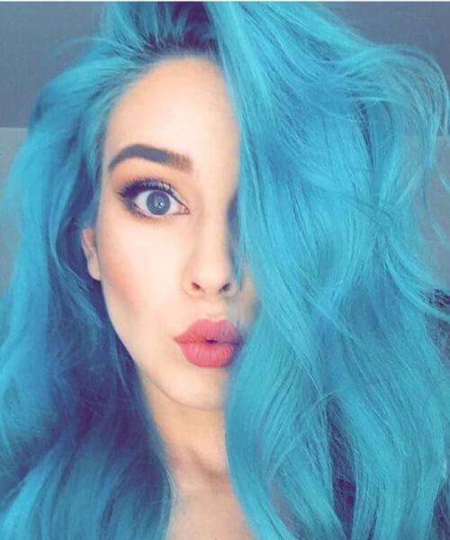 linda cor de cabelo de boneca teal
