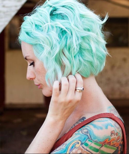 cor pastel do cabelo da cerceta da hortelã