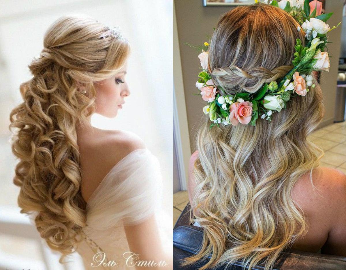 Metade para cima e para baixo penteado lindo para noiva
