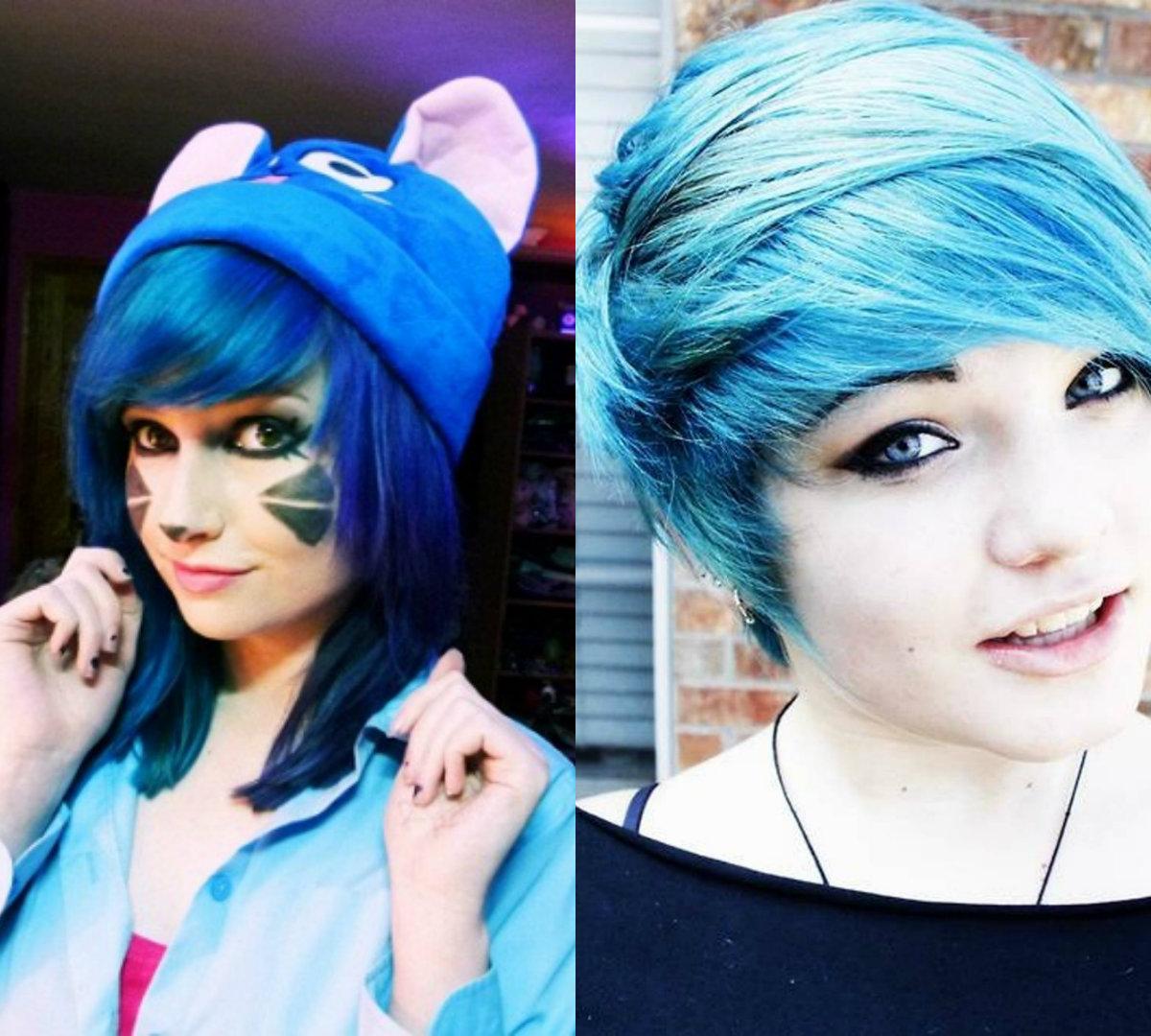 Idéias de penteado exclusivas diferentes de Emo Girl na elegante cor azul