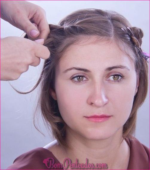 Como penteado curto para cabelos finos com franja torcida?