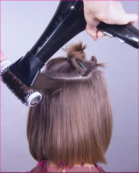 Como penteado de uma linha com fechamentos de enquadramento de rosto para cabelos finos e curtos?