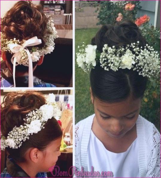 15 penteados bonitos da menina de flor