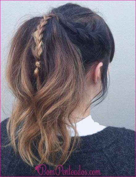 20 queda penteados para cabelo médio e longo